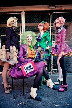 Awesome Batman villians Cosplay Girl Group Costumes scarecrow, joker, riddler, and two face. well done