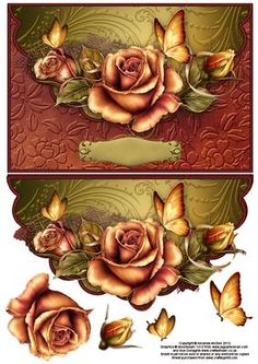 Copper roses and butterflies envelope card with decoupage on Craftsuprint designed by Amanda McGee - A stunning envelope card featuring pretty roses and butterflies.Will suit many occasions - Now available for download!