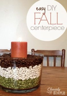 easy DIY Fall Centerpiece!  It takes 7 minutes to make this!