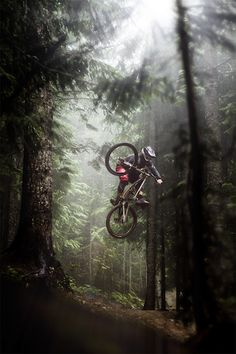 Outdoor adventure mountain bike #jump #forest #biker