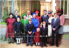 Left to Right in order - Princess Margaret, Prince Edward, Zara Phillips, The Queen Mother, The Duke of Edinburgh, Prince William, The Queen, Princess Anne, Princess Beatrice, Prince Harry, Prince Andrew, The Duchess of York holding Princess Beatrice, Peter Phillips, The Princess of Wales