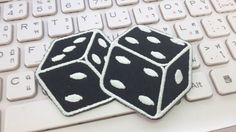 Dice Iron on patch  Dice Applique Embroidered by glassbottleshop