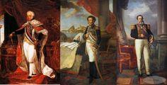 D. João VI, D. Pedro I e D. Pedro II em retratos que estão respectivamente no Museu Nacional de Belas Artes do Rio de Janeiro e no Museu Imperial de Petrópolis