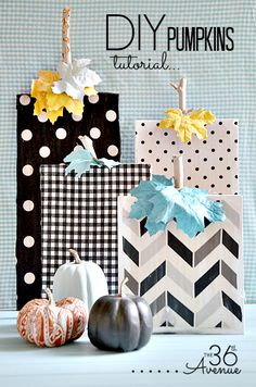Super cute wood and fabric DIY Pumpkins Tutorial - click thru for the tutorial on this fun Halloween (and beyond) DIY craft idea using Mod Podge