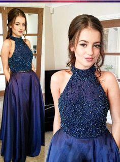 Stunning Two Piece Halter Prom Dresses Sleeveless Dark Blue Prom Dresses Taffeta Prom Dress Cheap Prom Dresses