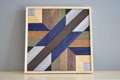 Wood wall art, brown/blue/grey/natural/silver, geometric design, 12in x 12in