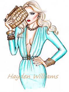 Hayden Williams Fashion Illustrations: 'Belle en Bleu' by Hayden Williams Fashion Illustration Sketches, Illustration Mode, Fashion Sketches, Art Sketches, Fashion Drawings, Hayden Williams, Fashion Art, Vintage Fashion, Fashion Design