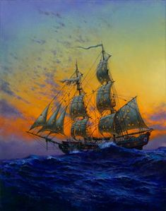 American Society of Marine Artists - Don Maitz Pirate Art, Pirate Life, Pirate Ships, The Pirates, Pirates Of The Caribbean, Old Sailing Ships, Ship Paintings, Stormy Sea, Nautical Art