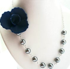 Bridesmaid Necklace Navy Blue Flower Necklace by PrettyNecklaces, $32.00
