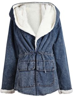 Grey Hooded Long Sleeve Drawstring Denim Coat US$50.82