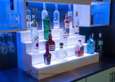 LED Lighted Liquor Shelves & Illuminated Home Bar Displays - 2 Tiers Bar Shelves, Liquor Shelves, Floating Shelves, Liquor Cabinet, Home Bar Areas, Diy Home Bar, Bar Unit, Bar Displays, Bottle Display