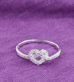 Heart Knot Ring in Sterling Silver & Cubic Zirconia - woot & hammy