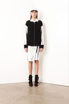 DKNY  silver foil print skirt and jacket with zip detail