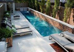 If we had a pool, it would be like this. Fantastic Small Backyard Swimming Pool Gives Peaceful Atmosphere : Modern Backyard Design Small Backyard Swimming Pool Lounge Enclose Patio Modern Backyard Design, Small Backyard Design, Backyard Pool Designs, Small Backyard Pools, Patio Design, Outdoor Pool, Backyard Ideas, Small Backyards, Garden Design