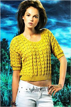 Short pullover spokes with fantayny braids Web Design, Knitwear, Knit Crochet, Pullover, Crop Tops, Sewing, Knitting, Jackets, Shirts