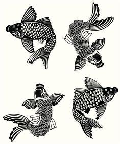 Plantillas para tatuajes del pez koi 01