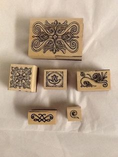 Lot Rubber Stamps 6 Swirls Borders Different Sizes Scrapbook Card #Unbranded #Youchoose