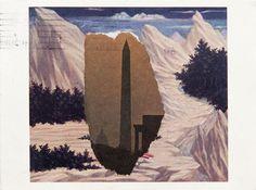 Ellsworth Kelly, Postcard collage, Domenico Veneziano / Washington Monument, 1984.