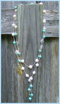 Lariat - turquoise, large-hole pearls, 1mm leather (Customer Design from Lima Beads)