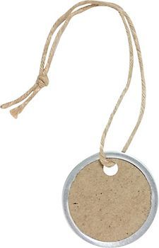 Medium Kraft Metal Rim Tags.  Can also put photos in them and turn them into ornaments. or use them to label stockings with person's initial.