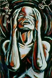 If you suffer from migraines you can easily recognize this image. The pain is beyond words. All you can do is find a dark quiet place, be still & suffer in silence...for hours even days. Taking a 'few aspirin' does NOT help. This is Olea Nova's migraine art.  Each pic has it's own meaning. www.migraineartwork.com/migraine_art.html