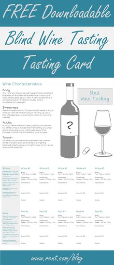 Looking for a fun girls' night in? Host a blind wine tasting party! Get the details and download this free tasting card on The Shared Wall blog! [Rent.com] #wine #party