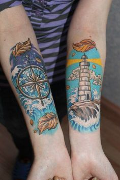 The vibrant colors in this tattoo reminded us of the fantastical lands found within children's books.