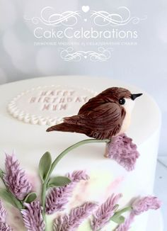 Close up of Jenny Wren on the Celebration Birthday cake for an 87 year old yound lady who loves flowers and birds #cakecelebrations #birthday #sugarcraft #fondant #somerset #somersetweddings #weddingplanning #royalicing #cake #lavender #fondanttopper #birds #jennywren