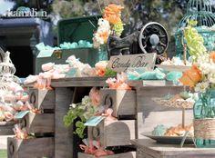 www.kamalion.com.mx - Mesa de Dulces / Candy Bar / Postres / Vintage / Rustic / Wedding / Boda / Turquesa & Naranja / Turquoise & Orange.