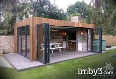 Shedworking, Kitchens pavillion Ran on the lines - That is how woman Leinen styles properly - Koid. Backyard Studio, Backyard Patio Designs, Backyard Landscaping, Backyard Ideas, Outdoor Rooms, Outdoor Living, Outdoor Kitchens, Garden Office, Outdoor Kitchen Design