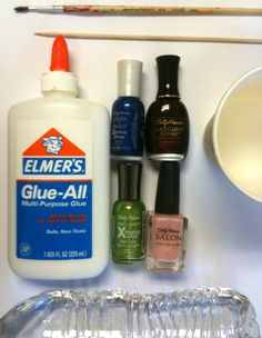 Use glue to keep from making a mess when doing your nails... great for doing marble nails or just get a clean look!