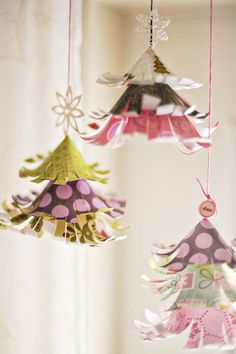 paper christmas tree ornaments. Make cones from paper, and then cut fringe! Roll the edges around a pencil to get the flared look