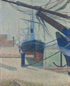 Af of niet af? Niet alle schilderijen in de Seurat tentoonstelling zijn voltooid. Kijk eens naar dit werk 'Coin d'un bassin à Honfleur', uit 1886. Seurat werkt er 8 dagen aan, maar dan vertrekt het schip... Als je goed kijkt zie je dat het het nog niet af is. Toch? #krollermuller #seurat #veluwe