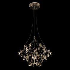Crystal Galaxy Suspension with Downlight: Indoor Lighting, Outdoor Lighting, Modern Lighting Transitional Chandeliers, Contemporary Chandelier, Elegant Chandeliers, Suspension Cable, Hanging Crystals, Light Architecture, Modern Lighting, Lighting Ideas, Chandeliers
