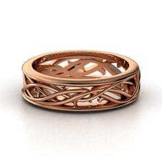 Men's 14K Rose Gold Ring   Vine Band   Gemvara
