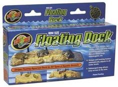 Turtle Dock Mini 9.5 x 5-Inches, Zoo Med - For use with aquatic newts, crabs, fire belly toads, hatchling aquatic turtles, African dwarf frogs, mudskippers, etc. Unique self leveling feature automatically adjusts to all water levels. Submerged ramp allows easy access to dry area.