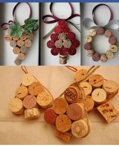 Tappi sughero Rustic Christmas Ornaments, Cork Ornaments, Christmas Crafts For Gifts, Christmas Art, Craft Gifts, Christmas Decorations, Wine Cork Crafts, Wine Bottle Crafts, Idee Diy