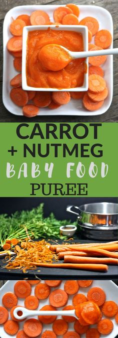 We take the classic baby food puree of carrots and then we stir in a little nutmeg that will delight your little ones taste buds!