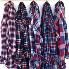 LIBERTY BELLE Red White and Blue Flannels for Bridal Party Getting Ready Shirts, mismatched bridesmaids robe alternative, plaid button down Plaid Fashion, Fashion Outfits, Bridal Party Getting Ready, Blue Flannel Shirt, Cute Casual Outfits, Trends, Shirts, Clothes, Men's Clothing