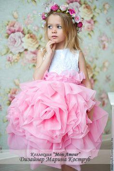 Купить Платье Роза любви-1 - розовый, однотонный, платье для девочки, платье для праздника