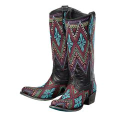 Lane Boots Womens Leather Sunshine Multicolor Stitch Cowgirl