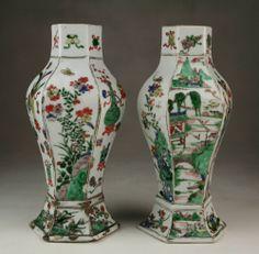 Rare Pair Antique Chinese Qing Kangxi Wucai Famille Verte Porcelain 6 Side Vases