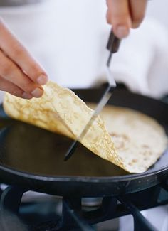 the most perfect crepe recipe ever: 1/2 cup water 1/2 cup milk 1 cup all-purpose flour 2 eggs Melted unsalted butter for greasing pan Blend until smooth. refrigerate at least an hour. grease 9 inch skillet. Pour 1 ladle and swirl quickly around. cook 1 minute or until crepe bubbles. flip, ten secs. Place on wax paper.