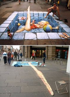 sidewalk art - Google Search View the different perspective