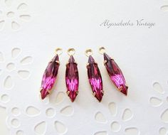Vintage Faceted Fuchsia Pink Navette by alyssabethsvintage on Etsy, $3.25