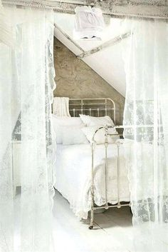 76025f6c52f28c shabby chic bedroom curtains 1 creating a sheer lace wall around your bed shabby  chic white