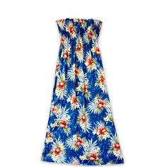 Hibiscus Isles Blue Maxi Hawaiian Dress  #hawaiian #madeinhawaii