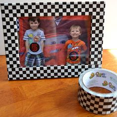 """Duck Tape"" {Race Car} Party Decor - could use tape on a large frame to take kids pictures Boy Car Room, Race Car Room, Racing Bedroom, Car Bedroom, Bedroom Ideas, Bedroom Furniture, Festa Hot Wheels, Hot Wheels Party, Race Car Birthday"