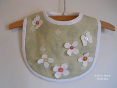 Sage Green Linen Baby Bib with Flowers and by TatorTotsDesigns