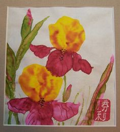 Irises Original Watercolor Chinese Brush Painting | MyEclecticHeart - Painting on ArtFire